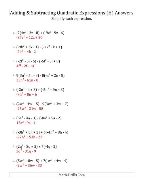 The Adding and Subtracting and Simplifying Quadratic Expressions with Some Multipliers (H) Math Worksheet Page 2