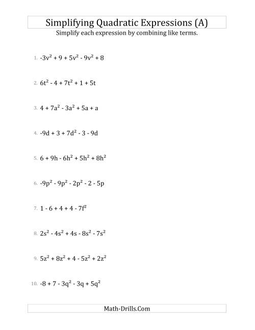 The Simplifying Quadratic Expressions with 5 Terms (A) Math Worksheet