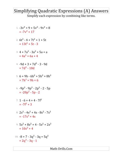 The Simplifying Quadratic Expressions with 5 Terms (A) Math Worksheet Page 2