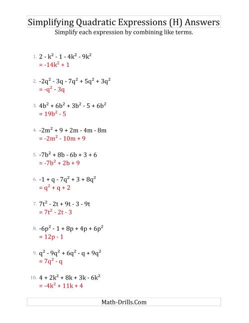 The Simplifying Quadratic Expressions with 5 Terms (H) Math Worksheet Page 2