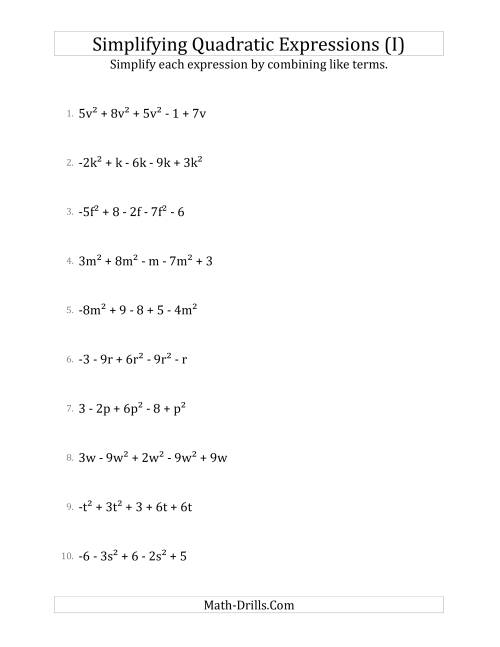 The Simplifying Quadratic Expressions with 5 Terms (I) Math Worksheet