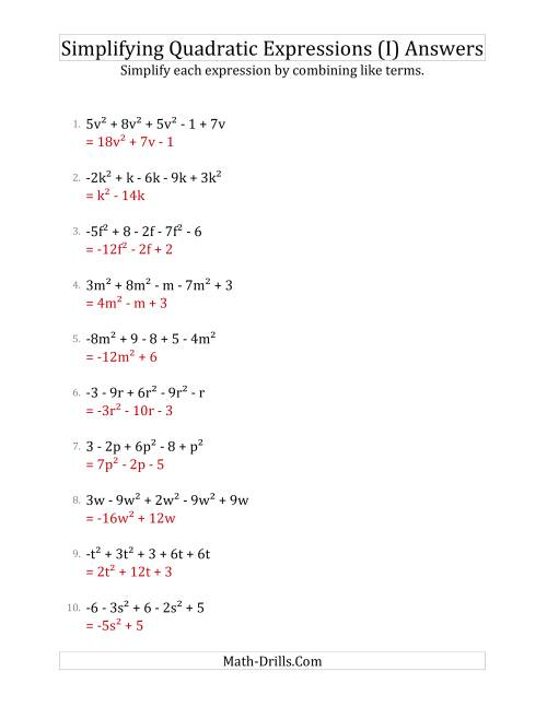 The Simplifying Quadratic Expressions with 5 Terms (I) Math Worksheet Page 2