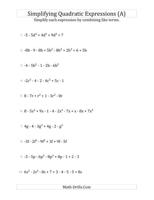 The Simplifying Quadratic Expressions with 6 to 10 Terms (A) Math Worksheet