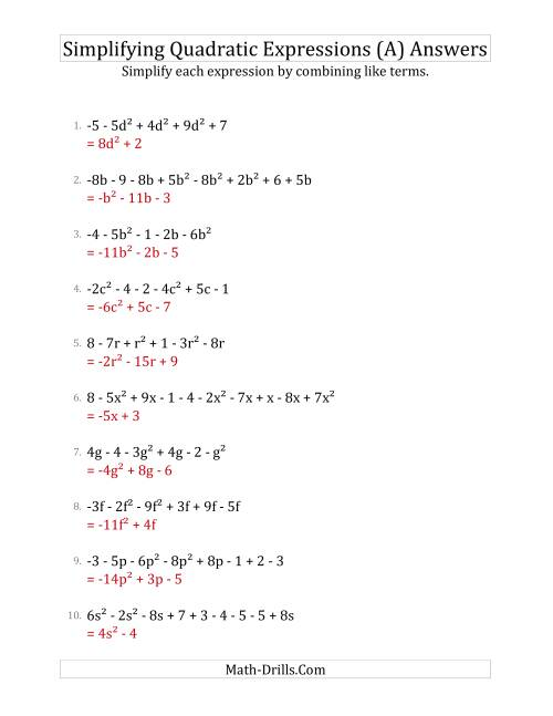 The Simplifying Quadratic Expressions with 6 to 10 Terms (A) Math Worksheet Page 2