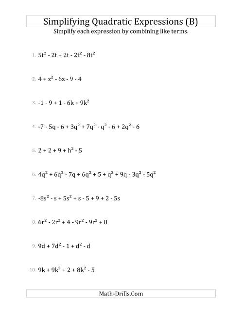 The Simplifying Quadratic Expressions with 6 to 10 Terms (B) Math Worksheet