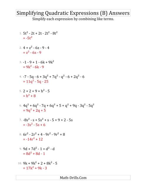 The Simplifying Quadratic Expressions with 6 to 10 Terms (B) Math Worksheet Page 2