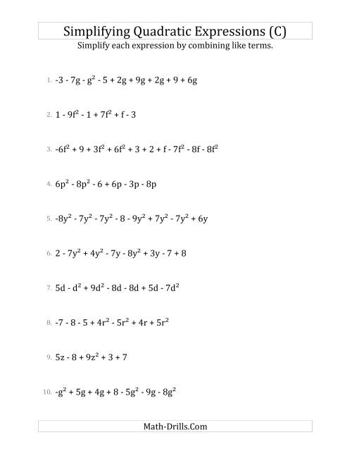 The Simplifying Quadratic Expressions with 6 to 10 Terms (C) Math Worksheet