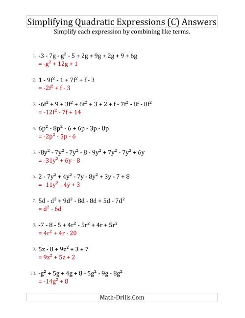 The Simplifying Quadratic Expressions with 6 to 10 Terms (C) Math Worksheet Page 2