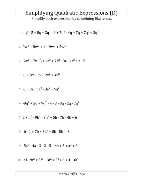 The Simplifying Quadratic Expressions with 6 to 10 Terms (D) Math Worksheet
