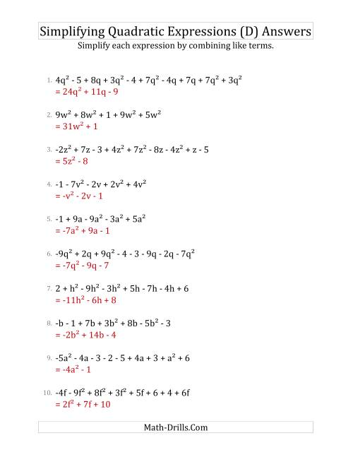 The Simplifying Quadratic Expressions with 6 to 10 Terms (D) Math Worksheet Page 2