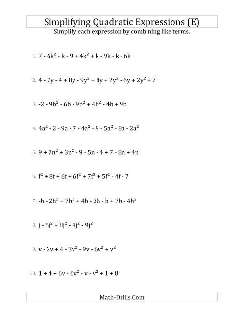 The Simplifying Quadratic Expressions with 6 to 10 Terms (E) Math Worksheet