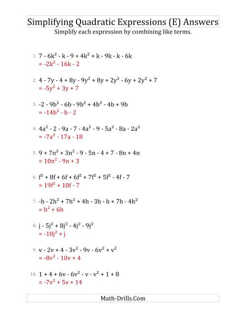The Simplifying Quadratic Expressions with 6 to 10 Terms (E) Math Worksheet Page 2