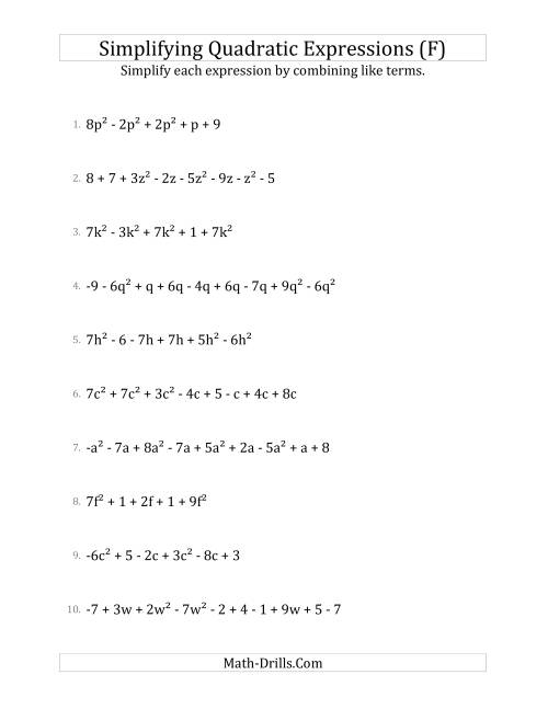 The Simplifying Quadratic Expressions with 6 to 10 Terms (F) Math Worksheet