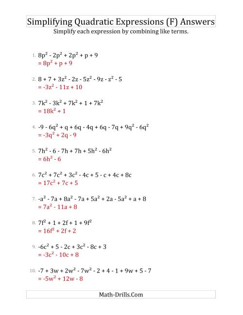 The Simplifying Quadratic Expressions with 6 to 10 Terms (F) Math Worksheet Page 2