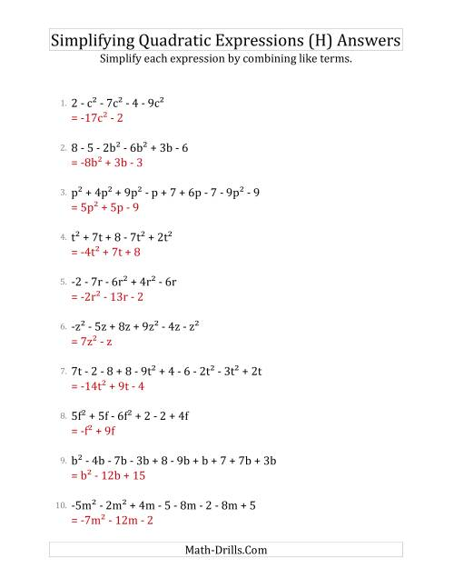The Simplifying Quadratic Expressions with 6 to 10 Terms (H) Math Worksheet Page 2