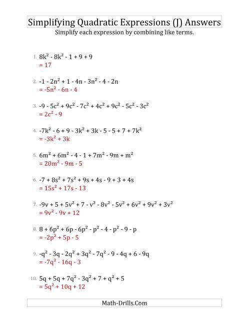 The Simplifying Quadratic Expressions with 6 to 10 Terms (J) Math Worksheet Page 2