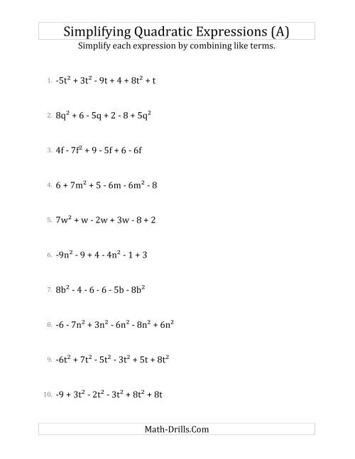 The Simplifying Quadratic Expressions with 6 Terms (A) Math Worksheet