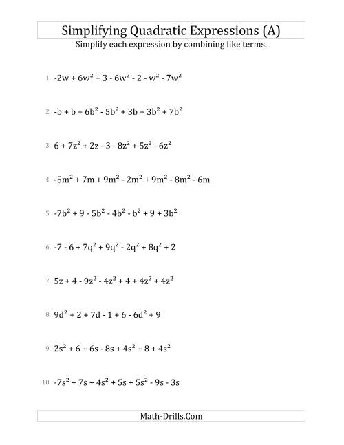 Simplifying Quadratic Expressions with 7 Terms A – Math Worksheets Algebra
