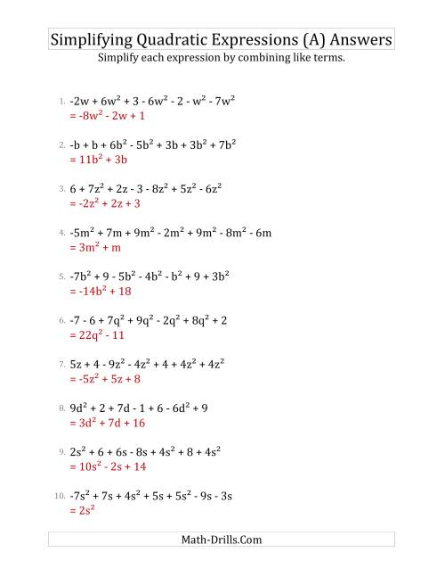 The Simplifying Quadratic Expressions with 7 Terms (A) Math Worksheet Page 2