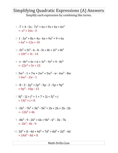 The Simplifying Quadratic Expressions with 8 Terms (A) Math Worksheet Page 2