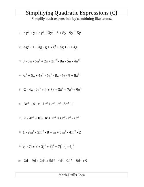 The Simplifying Quadratic Expressions with 8 Terms (C) Math Worksheet