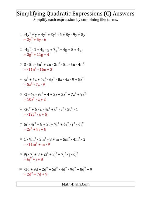 The Simplifying Quadratic Expressions with 8 Terms (C) Math Worksheet Page 2