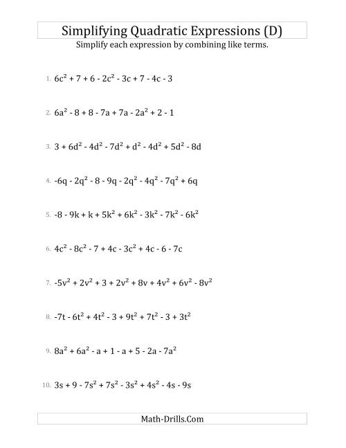 The Simplifying Quadratic Expressions with 8 Terms (D) Math Worksheet