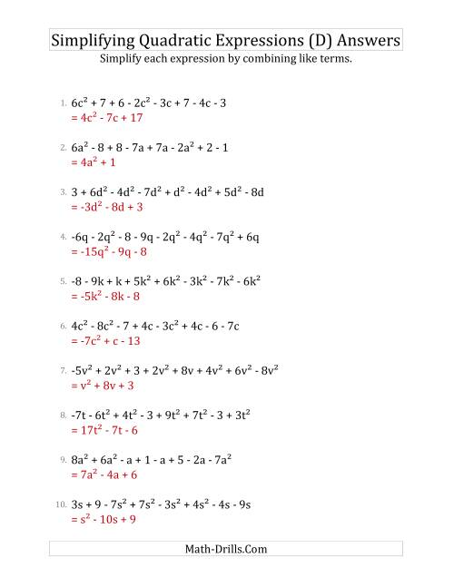 The Simplifying Quadratic Expressions with 8 Terms (D) Math Worksheet Page 2