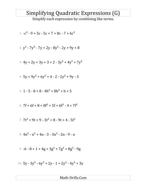 The Simplifying Quadratic Expressions with 8 Terms (G) Math Worksheet
