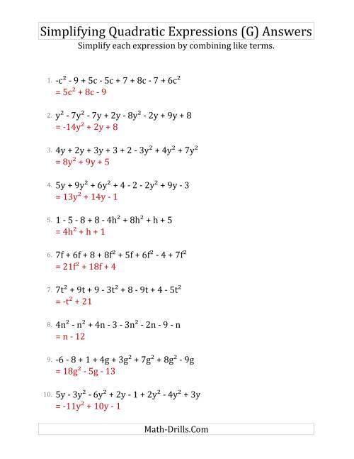 The Simplifying Quadratic Expressions with 8 Terms (G) Math Worksheet Page 2