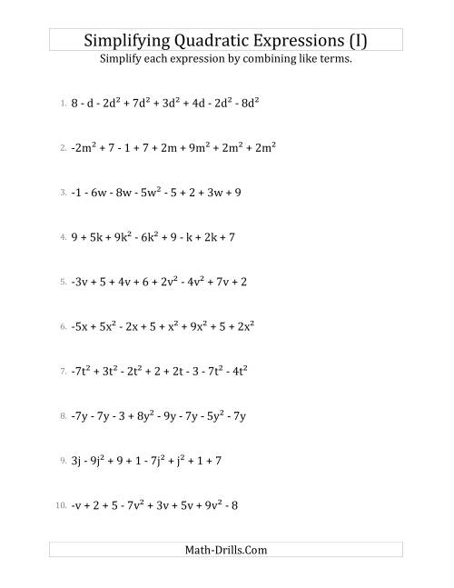 The Simplifying Quadratic Expressions with 8 Terms (I) Math Worksheet