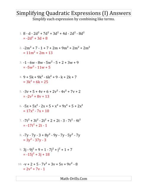 The Simplifying Quadratic Expressions with 8 Terms (I) Math Worksheet Page 2