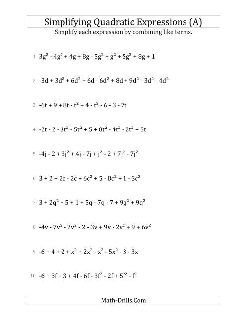 The Simplifying Quadratic Expressions with 9 Terms (A) Math Worksheet