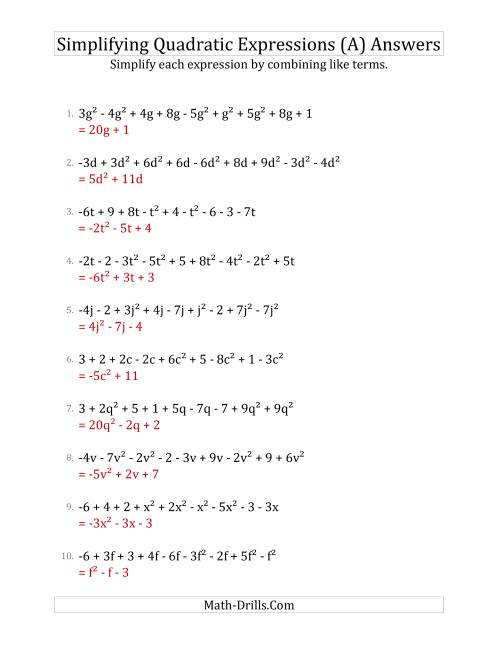 The Simplifying Quadratic Expressions with 9 Terms (A) Math Worksheet Page 2