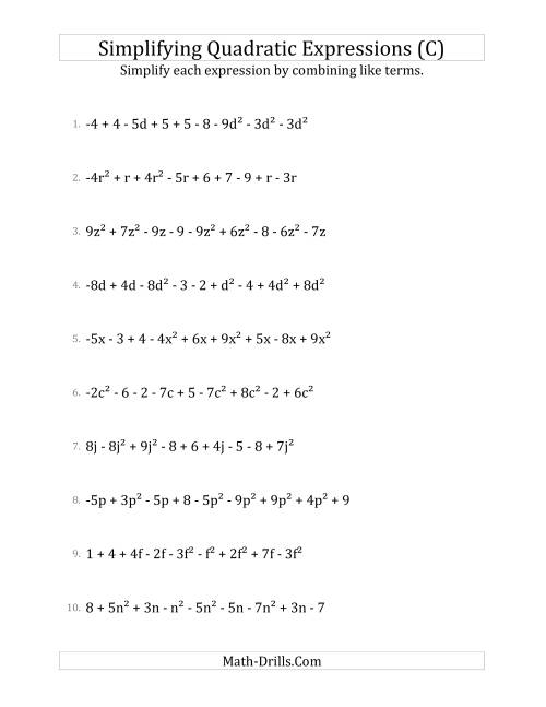 The Simplifying Quadratic Expressions with 9 Terms (C) Math Worksheet