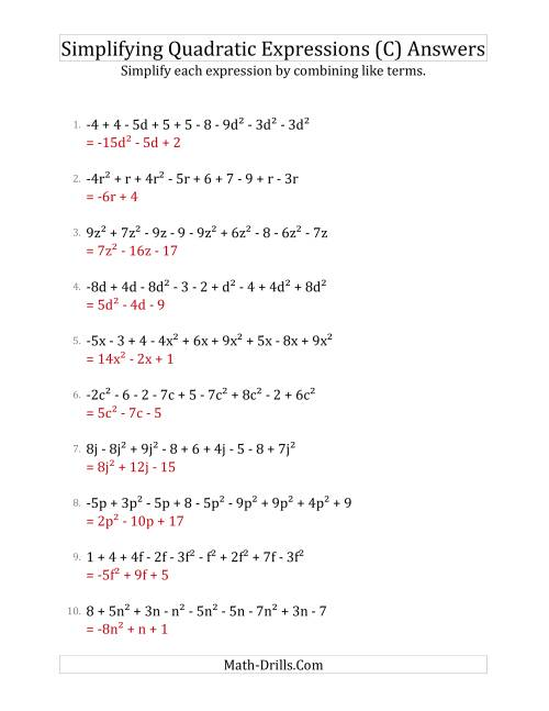 The Simplifying Quadratic Expressions with 9 Terms (C) Math Worksheet Page 2