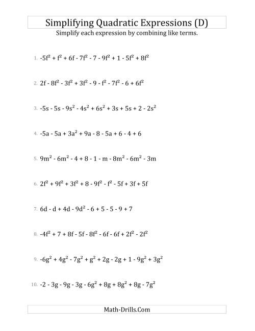 The Simplifying Quadratic Expressions with 9 Terms (D) Math Worksheet