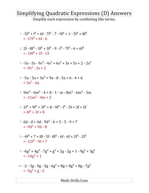 The Simplifying Quadratic Expressions with 9 Terms (D) Math Worksheet Page 2
