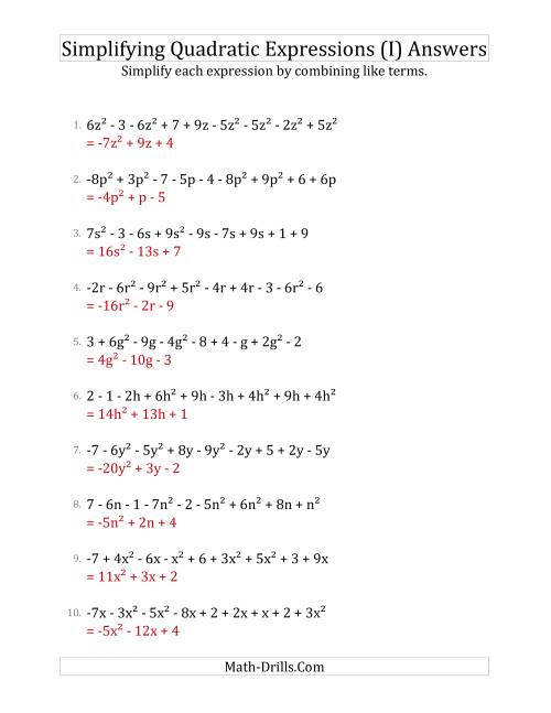 The Simplifying Quadratic Expressions with 9 Terms (I) Math Worksheet Page 2