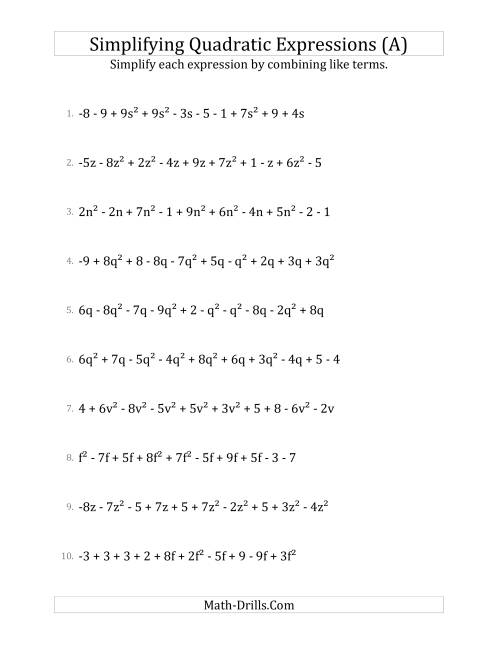 The Simplifying Quadratic Expressions with 10 Terms (A) Math Worksheet