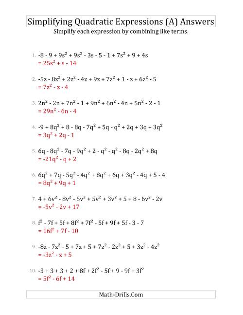 The Simplifying Quadratic Expressions with 10 Terms (A) Math Worksheet Page 2