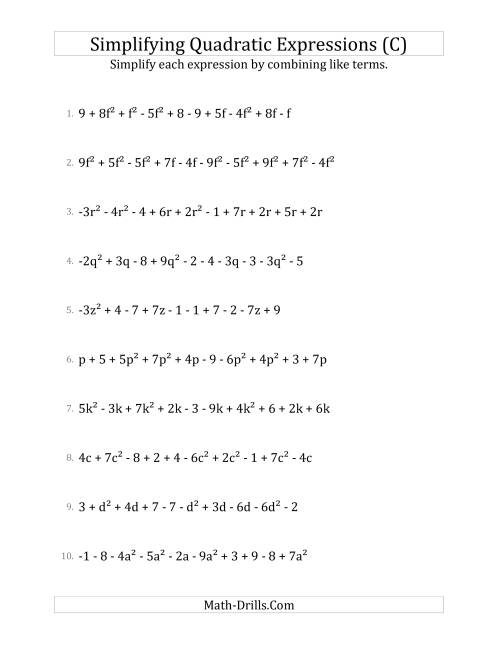 The Simplifying Quadratic Expressions with 10 Terms (C) Math Worksheet
