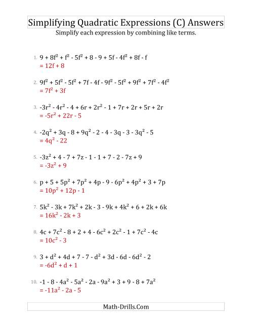 The Simplifying Quadratic Expressions with 10 Terms (C) Math Worksheet Page 2