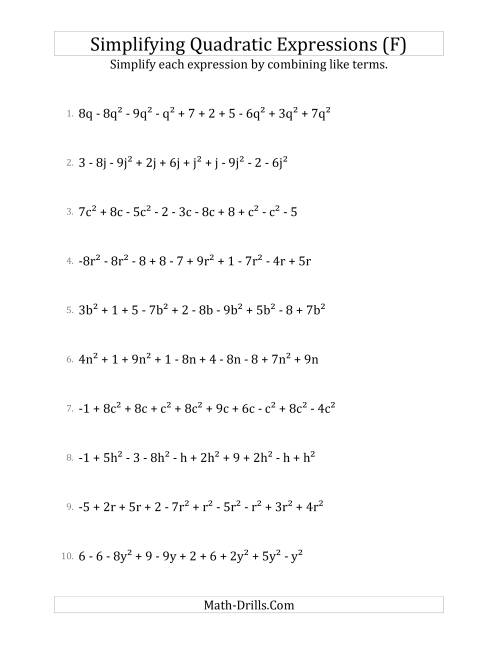 The Simplifying Quadratic Expressions with 10 Terms (F) Math Worksheet