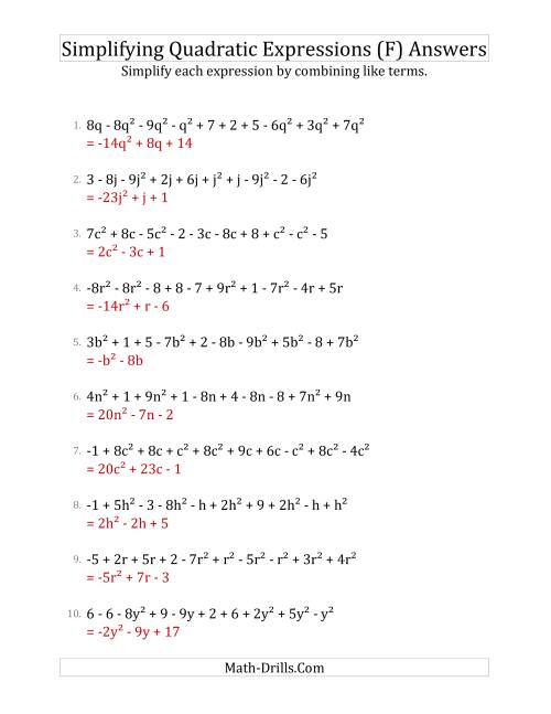 The Simplifying Quadratic Expressions with 10 Terms (F) Math Worksheet Page 2