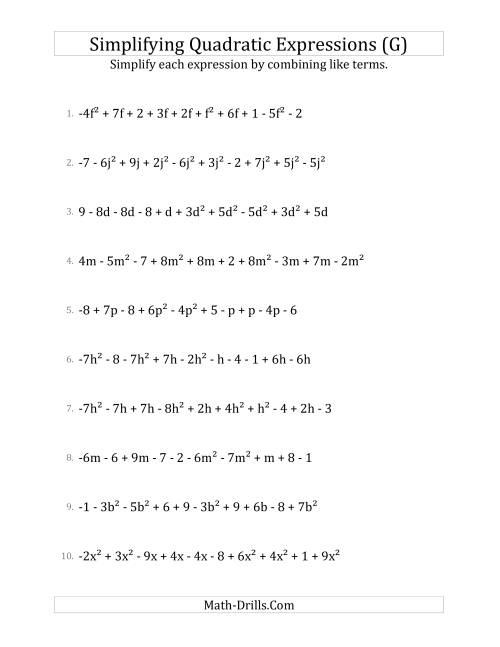 The Simplifying Quadratic Expressions with 10 Terms (G) Math Worksheet