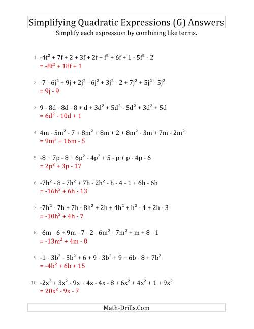 The Simplifying Quadratic Expressions with 10 Terms (G) Math Worksheet Page 2