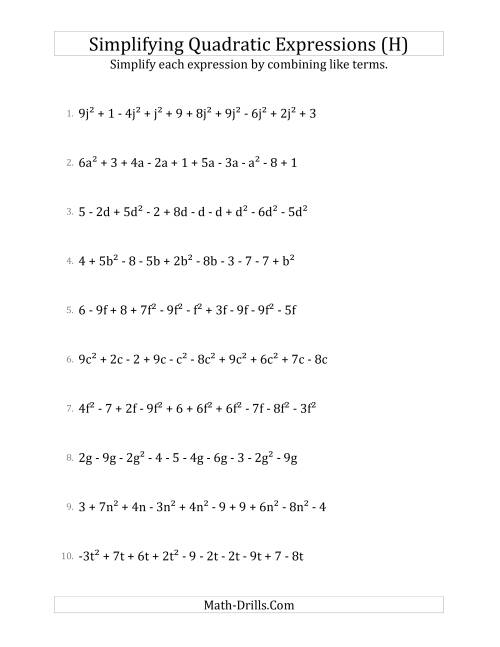 The Simplifying Quadratic Expressions with 10 Terms (H) Math Worksheet