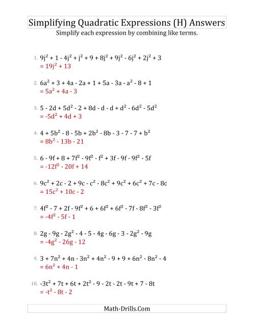 The Simplifying Quadratic Expressions with 10 Terms (H) Math Worksheet Page 2
