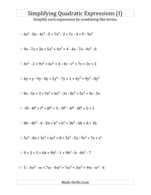 The Simplifying Quadratic Expressions with 10 Terms (I) Math Worksheet